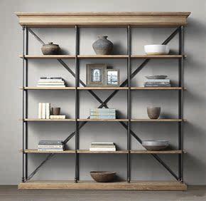 美式loft书架简易落地置物架客厅实木书柜原木隔板工业风陈列架