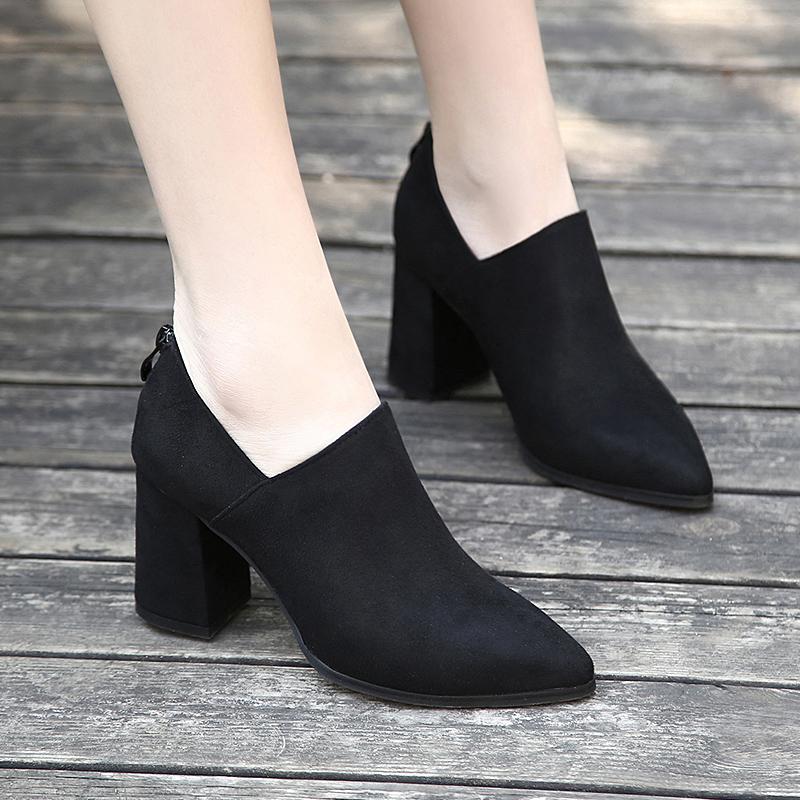 深口单鞋高跟绒面