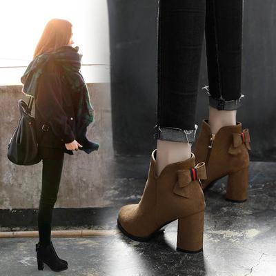 2018秋冬季新款韩版百搭马丁靴女英伦风高跟女鞋粗跟尖头磨砂短靴