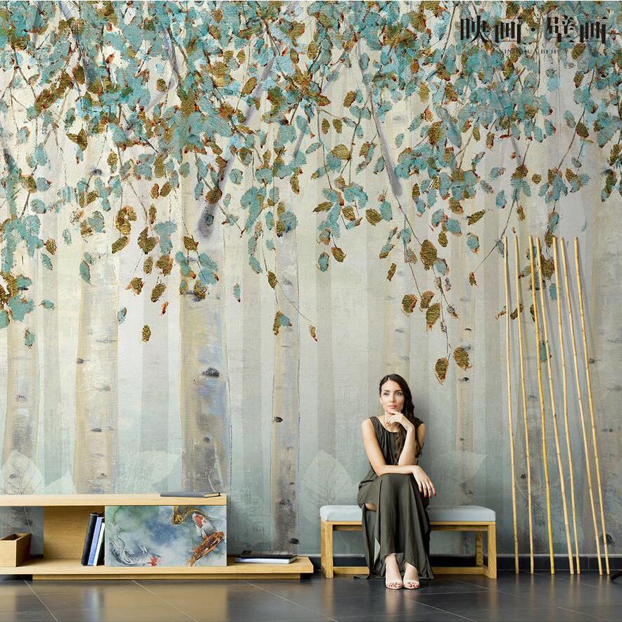 北欧抽象手绘白桦树林风景壁纸客厅电视背景墙纸沙发无缝壁画墙布