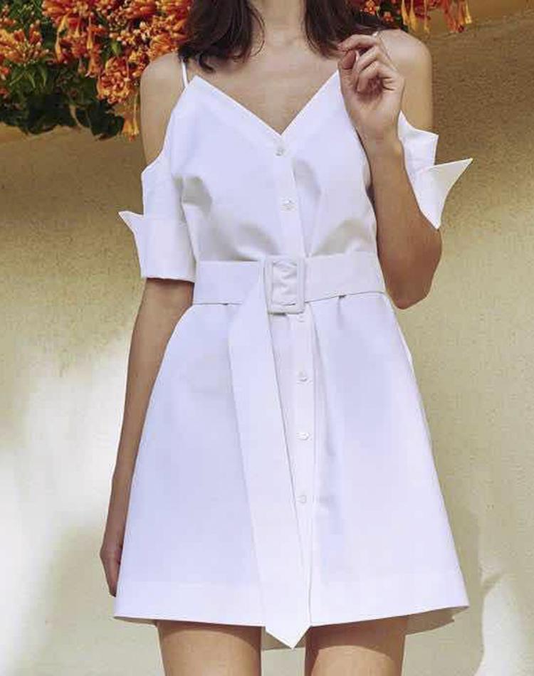 吊带裙日本白色