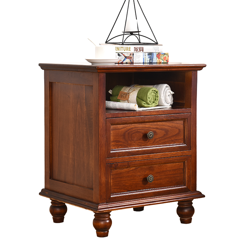 坤森实木床头柜欧式美式复古收纳储物柜客厅斗柜简约创意卧室边柜