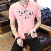 印花圆领半截袖 潮流社会男人衣服 男修身 个性 夏季鱼图案t恤男短袖