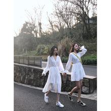 长裙 白色闺蜜装 surblue仙女雪纺连衣裙女2019春新款 V领气质中长款图片
