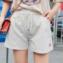 艾尚大码女装小清新休闲短裤胖mm宽松外穿裤2018夏季新款棉麻短裤