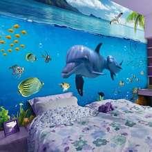 18卡通海洋海底世界墙纸3d立体壁画海豚男女孩儿童房卧室背景墙壁