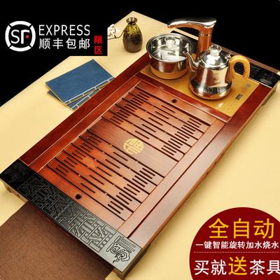 全自动功夫茶盘实木套装电磁炉家用大号茶具一体茶台茶海排水抽屉排行