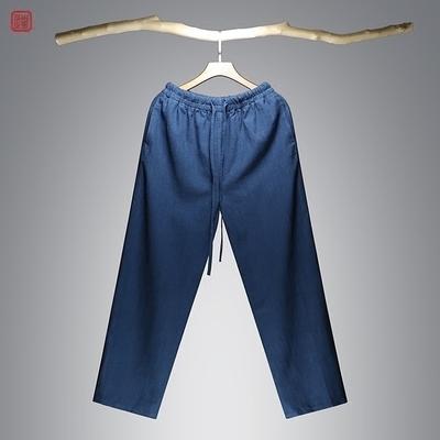 中國風棉麻男褲秋冬休閑亞麻褲男復古中式大碼寬松男士直筒長褲子