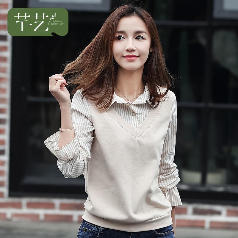 条纹甜美polo衫