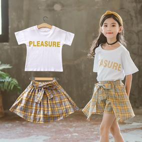 7女大童8夏装10套装2019儿童格子裙裤两件套12小学生13女孩15岁潮