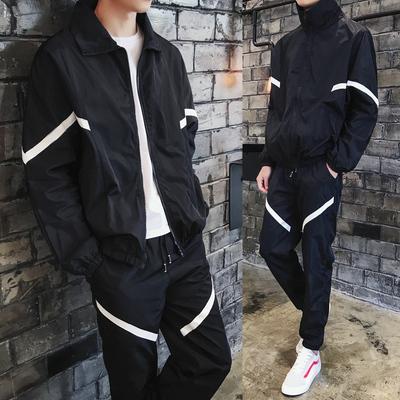 男立领运动夹克一套潮流加肥加大码宽松2018新款秋季学生休闲套装