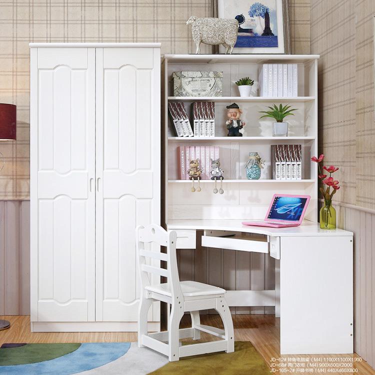 儿童房欧式美式转角书桌书架书柜衣柜组合一体女孩全实木仿古白色