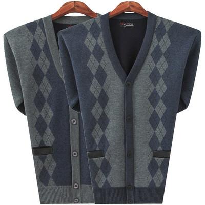加绒保暖】秋冬中老年男加厚v领开衫外套中年男装加绒针织衫毛衣