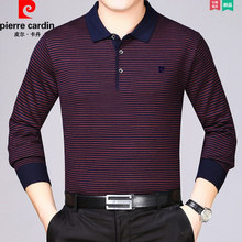 Pierre Cardin Fall Men's Thin Cashmere Sweater Middle-aged Stripe Turn-lapel Top Father's Loose Long Sleeve T-shirt