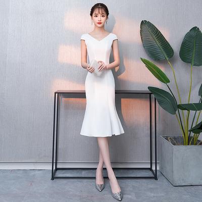 晚礼服2018新款优雅高贵白色气质名媛洋装小礼服宴会中长款显瘦女