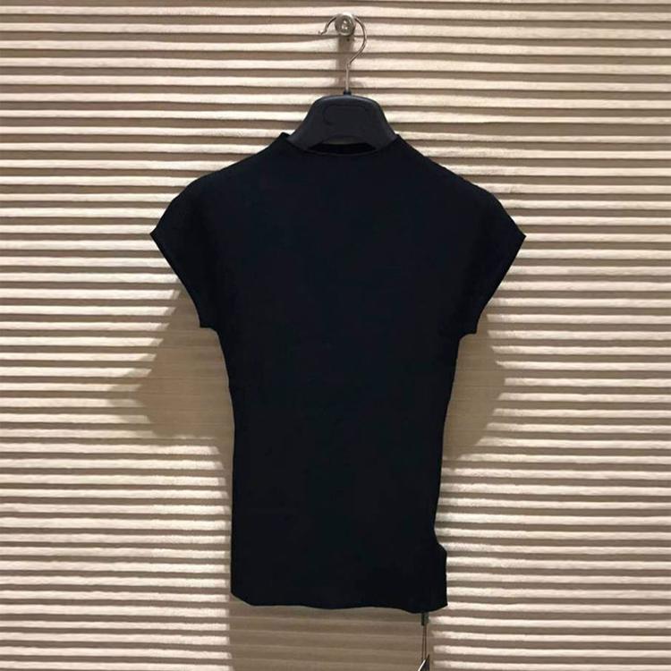 希哥弟思媞2019夏装新款正品国内代购黑色冰丝针织衫短袖T恤女装