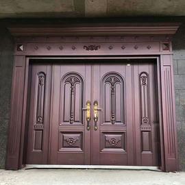 别墅大门仿铜门对开门防盗门钢质门进户门锌合金农村门工程门图片