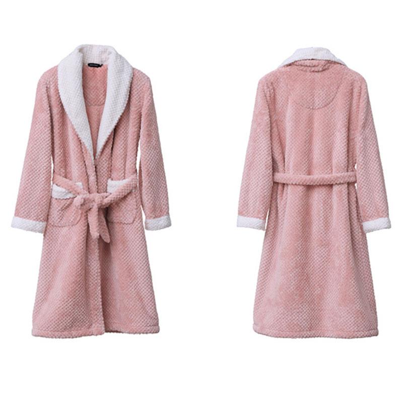 浴袍女珊瑚绒秋冬季男士加厚睡袍法兰绒中长款简约睡衣女冬家居服