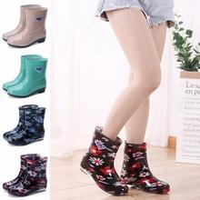 雨鞋女士短筒时尚防滑防水可爱中筒水鞋韩版加绒保暖雨靴水靴胶鞋
