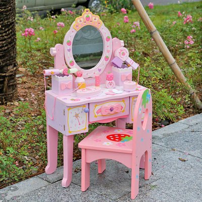 木制女孩仿真过家家幼儿童梳妆台公主化妆台玩具宝宝生日礼物套装正品折扣