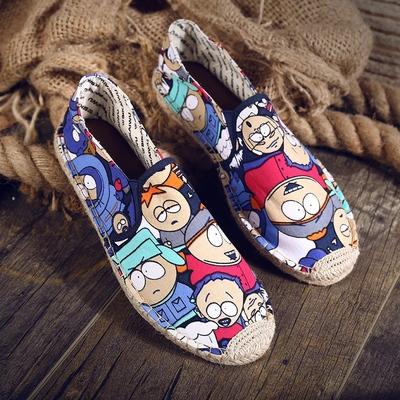 夏季亚麻鞋一脚蹬懒人男鞋草编卡通男女老北京帆布鞋韩版潮休闲鞋