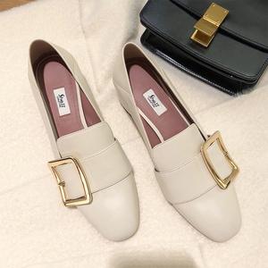 【sheii苏茵茵】鞋型超正~新款方扣粗跟中跟踩跟懒人乐福鞋女单鞋
