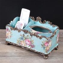 欧式多功能抽纸盒客厅茶几美式装饰品遥控器收纳盒纸巾盒复古摆件