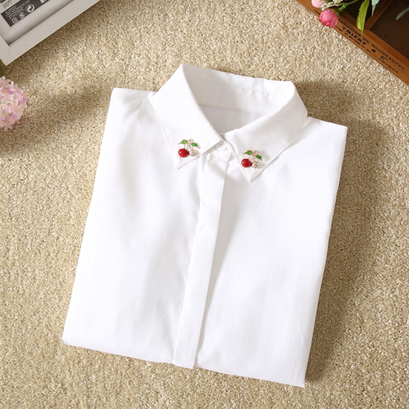 White shirt female 2018 new autumn and winter long sleeve bottoming shirt Han Fan students plus