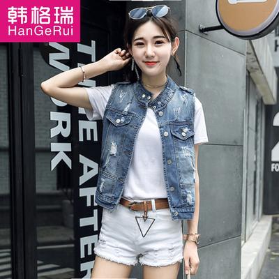 2018春夏装韩版时尚破洞牛仔马甲女短外套背心马夹坎肩少女牛仔衫