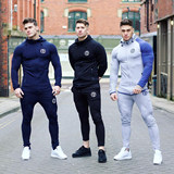 Muscle Captain Brothers Fitness Suit Men's Tights Men's Long Sleeve Running Sports Winter Training Wear Gym