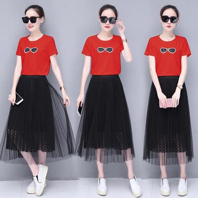 连衣裙女夏装2018新款t恤裙夏纱网纱裙子夏季显瘦两件套中长裙潮