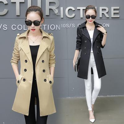2018春秋装新款韩版修身气质女风衣大码时尚中长款双排扣大衣外套
