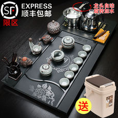 Whole piece of natural Wujinshi tea tray Kung Fu tea set four-in-one set simple set of household tea table tea ceremony tea sea