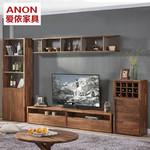 北欧风格电视柜小户型电视机柜组合地柜简约现代胡桃木客厅储物柜