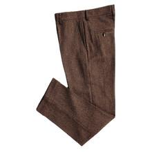 秋冬季复古粗花呢加厚80%羊毛人字纹羊毛呢直筒窄脚西裤男大叔裤