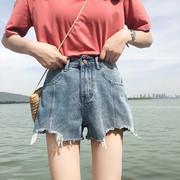 夏季新款2018网红同款高腰阔腿裤复古直筒破洞毛边流苏牛仔短裤女