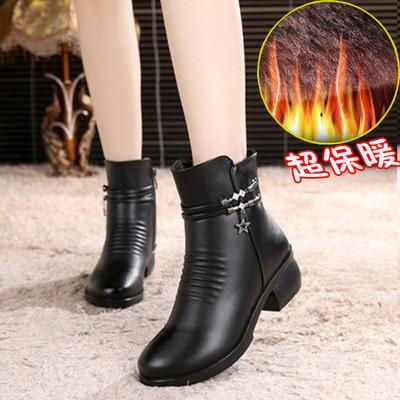 秋冬女鞋粗跟短靴妈妈加大码皮靴子中跟女靴马丁靴棉鞋加厚绒棉靴