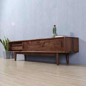 北欧黑胡桃木电视柜简约现代白橡木纯实木地柜樱桃木定制客厅家具