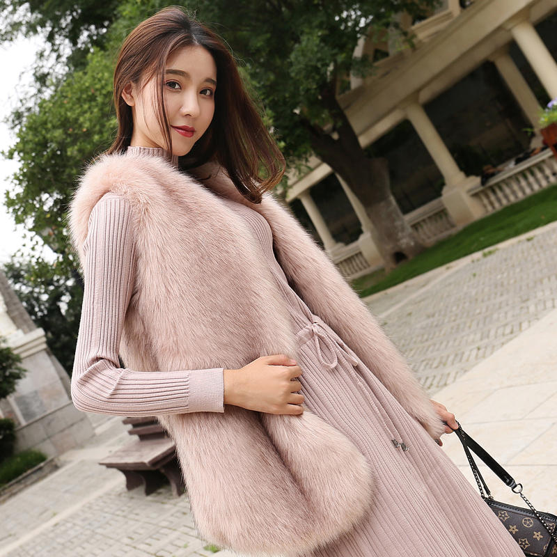 Imitation fox fur grass vest female long section 2018 new autumn and winter Korean version was thin