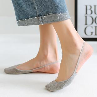 女袜子船袜 纯棉浅口夏季薄款前脚掌半截隐形袜子 高跟鞋船袜吊带