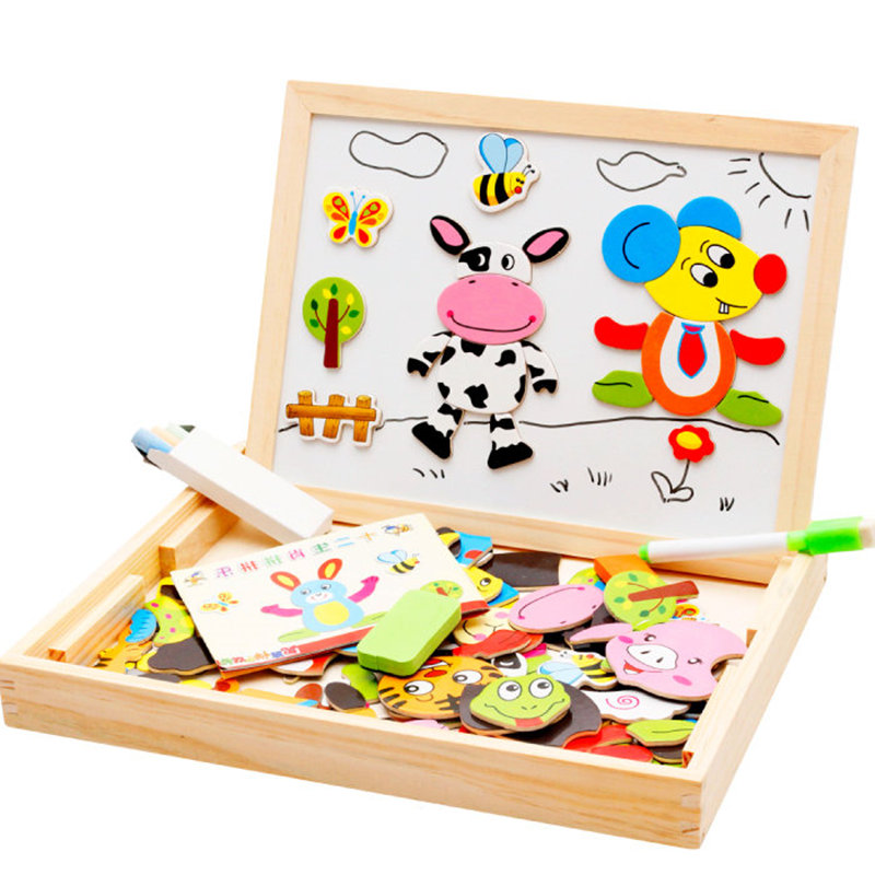 儿童男女孩宝宝动物拼拼乐磁性拼图画板宝宝幼儿早教益智木制玩具5元优惠券