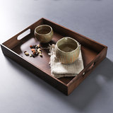 Japanese-style black walnut wood solid wood tea tray with handle breakfast snack tray tray coffee table cup storage tray