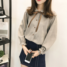 2019 spring new plus velvet thickening Han Fan College wind corduroy bow long-sleeved shirt women loose tops