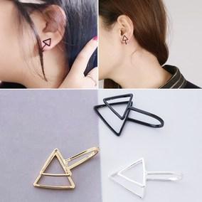 Style极简风格简约无耳洞耳夹韩国三角形单个假耳钉女黑色复古价