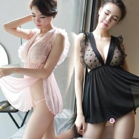 粉色可爱妹子喜欢性感制服透明吊带性感短裙波点蕾丝透明少妇嫩女