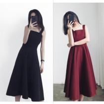 冷淡风大码连衣裙胖MM赫本小黑裙背心吊带裙子适合胖女人穿的夏装