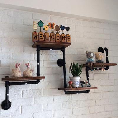 欧式loft铁艺实木墙上置物架儿童房书架复古做旧水管隔板层架定制网上专卖店