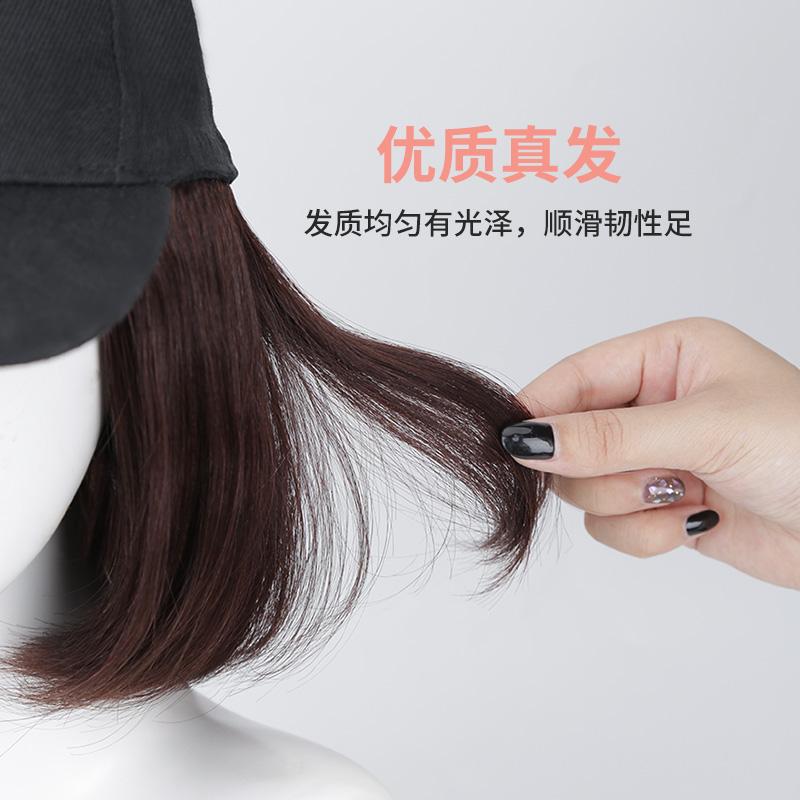 假发女短发帽子假发一体女夏天时尚锁骨发自然全头套式真发波波头