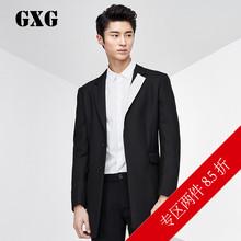 隐形单排扣门襟黑白领羊毛大衣 修身 春冬男士 长款 时尚 GXG大衣男装