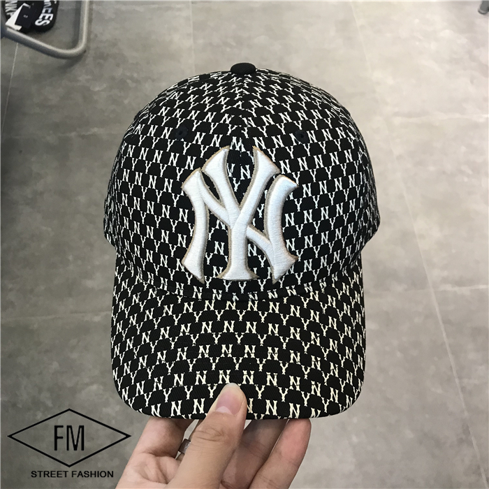 韩国专柜MLB新款NY洋基队刺绣满印花圆顶可调节棒球帽32CPFB911